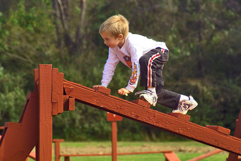 boy climbing obstacle course