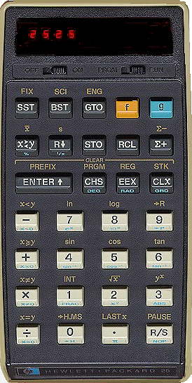 Enlarged view of calculator.